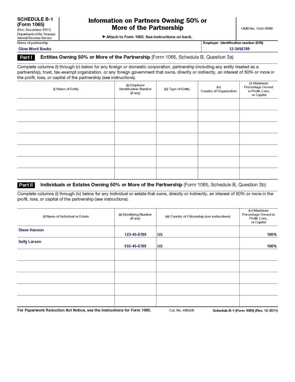 form 1065 schedule b-2  How to fill out an LLC 12 IRS Tax form